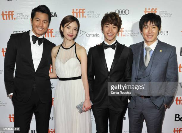Jung WoonSung Han HyoJoo Lee JuneHo and Seol KyungGu attend 'Cold Eyes' Premiere Arrivals 2013 Toronto International Film Festival at Roy Thomson...