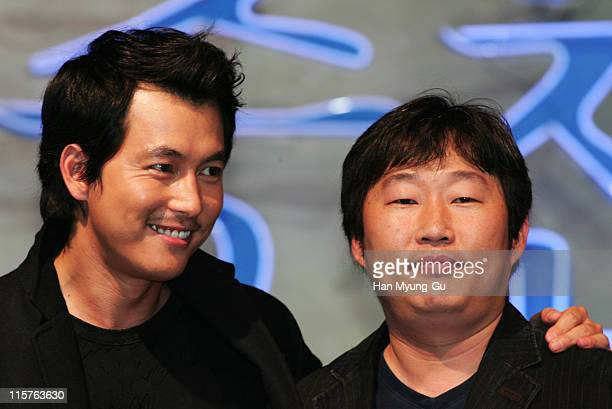 Jung WooSung and Cho DongOh director during 11th Pusan International Film Festival 'The Restless' Premiere at Grand Hotel in Pusan South Korea