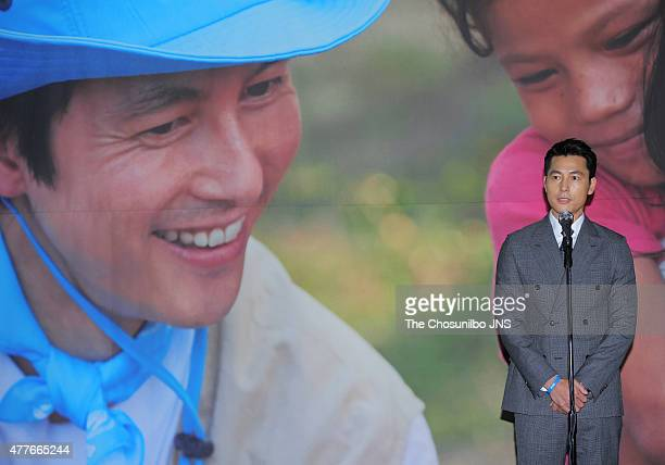 Jung WooSung poses for photographs during the 2015 World Refugee Day photo exhibition at Seoul City Hall on June 17 2015 in Seoul South Korea