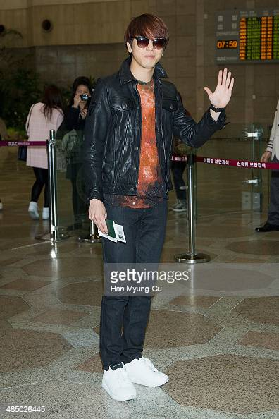 Jung YongHwa of South Korean boy band CNBLUE is seen on departure at Gimpo International Airport on April 15 2014 in Seoul South Korea
