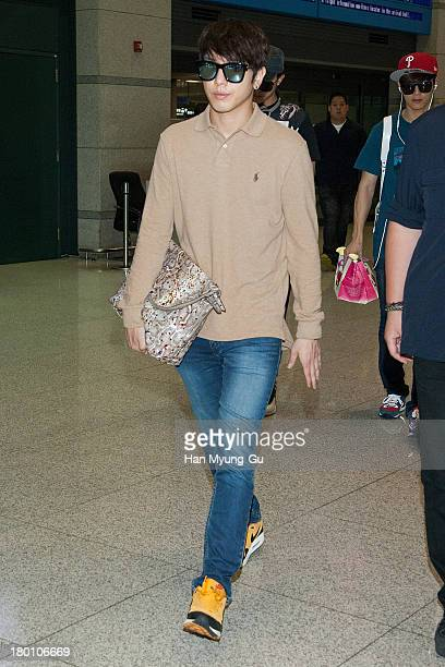 Jung YongHwa of South Korean boy band CNBLUE is seen upon arrival at Incheon International Airport on September 8 2013 in Incheon South Korea