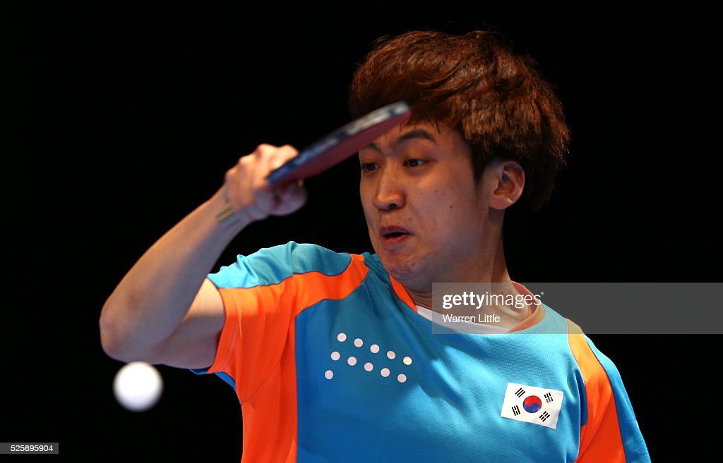 Jung Yougsik of Korea in action during the Men's Singles Challenge against Soumyajit Ghosh of India during day two of the Nakheel Table Tennis Asian Cup 2016 at Dubai World Trade Centre on April 29, 2016 in Dubai, United Arab Emirates.
