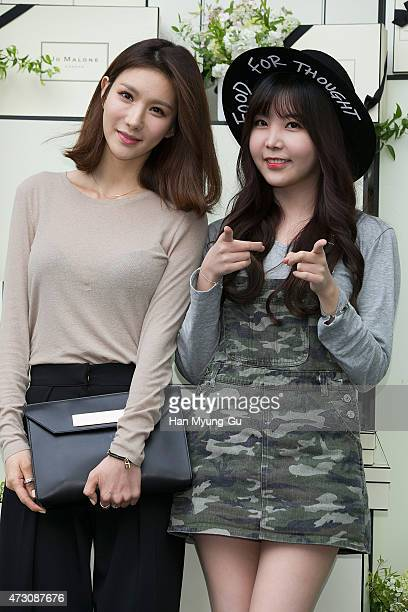 JungA and Raina of South Korean girl group After School attend the photocall for Jo Malone London Hannam boutique opening on May 12 2015 in Seoul...