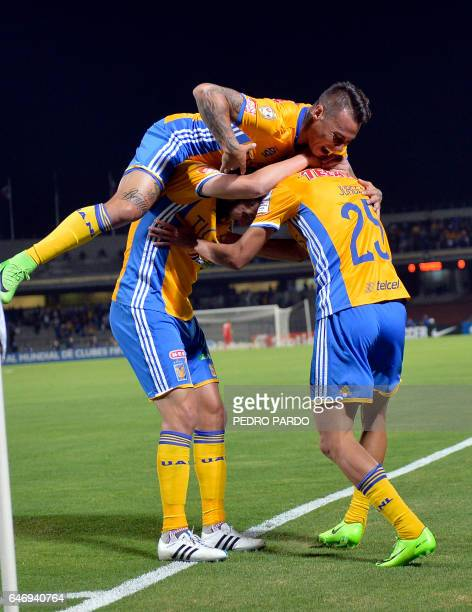 Jungen Damm of Mexico´s Tigres celebrates with his teammates Eduardo Vargas Andre Pierre Gignac his goal against Mexico´s Pumas during the second leg...
