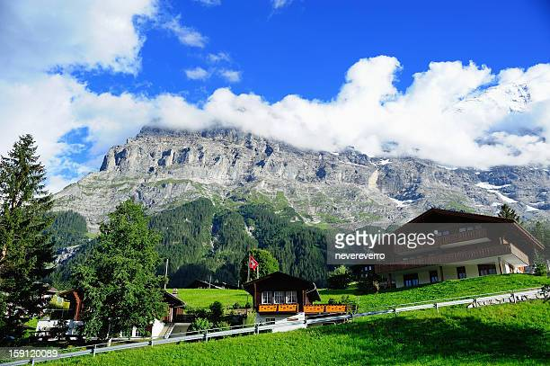 Jungfrau and Grindelwald Village in Berner Oberland, Switzerland