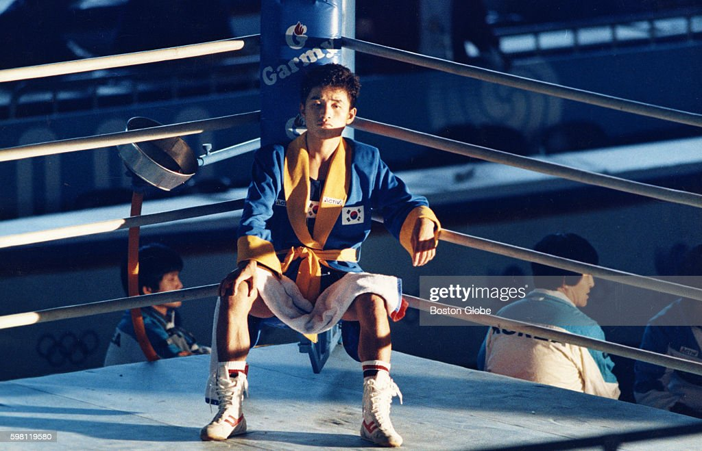 JungII Byun protests his loss by sitting in his corner for hours during the Summer Olympics in Seoul South Korea September 1988 He stayed even after...