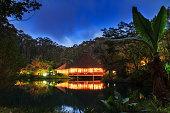 Beautiful jungle lodge at night in the Andasibe Mantadia National Park, Madagascar