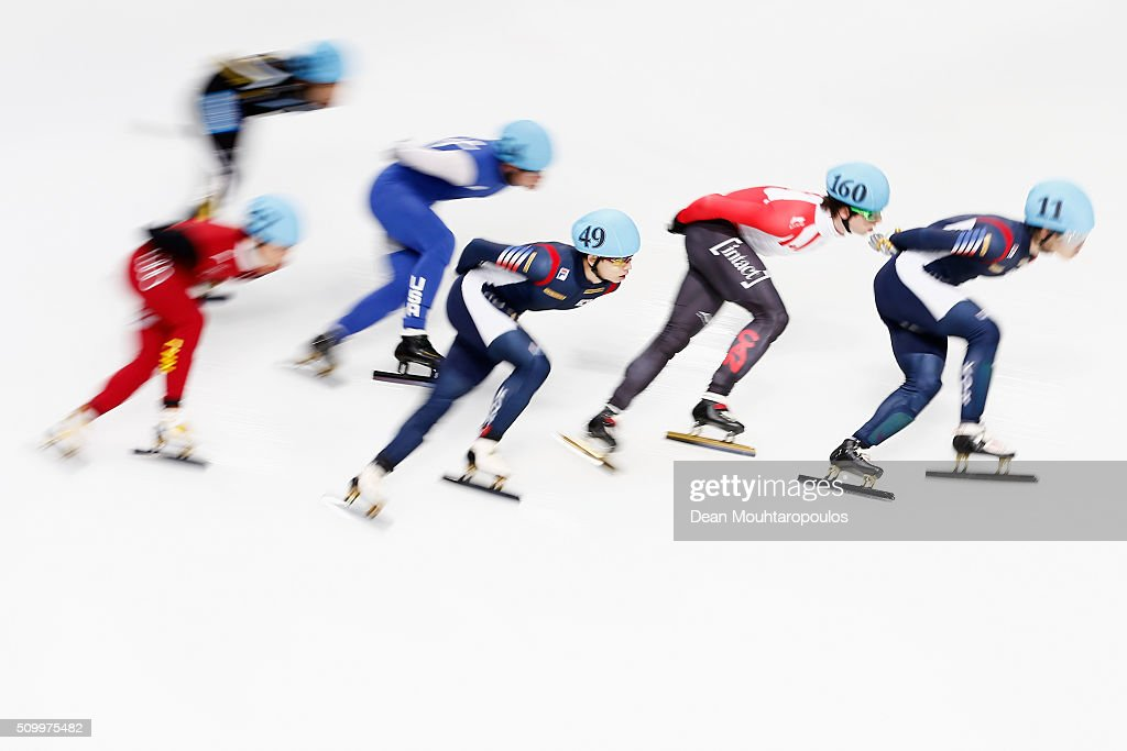 Jung-Su Lee of South Korea #49 competes in the mens 1500m semi finals during ISU Short Track Speed Skating World Cup held at The Sportboulevard on February 13, 2016 in Dordrecht, Netherlands.