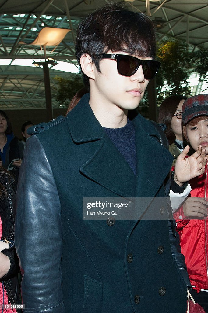 Junho of South Korean boy band 2PM is seen on departure iat Incheon International Airport on March 29, 2013 in Incheon, South Korea.