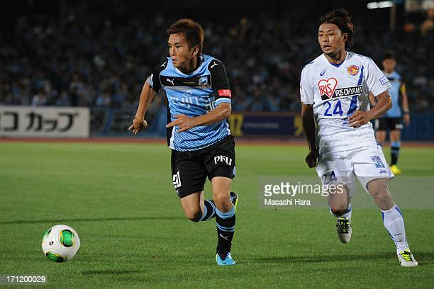 Junichi Inamoto of Kawasaki Frontale in action during the JLeague Yamazaki Nabisco Cup quarter final match between Kawasaki Frontale and Vegalta...