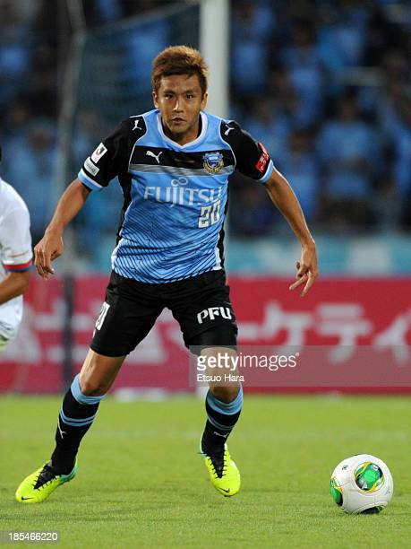 Junichi Inamoto of Kawasaki Frontale in action during the JLeague match between Kawasaki Frontale and Jubilo Iwata at Todoroki Stadium on October 19...