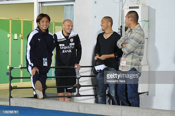 Junichi Inamoto of Kawasaki FrontaleFredrik LjungbergShinji OnoNaohiro Takahara of Shimizu SPulse talk before JLeague match between Kawasaki Frontale...