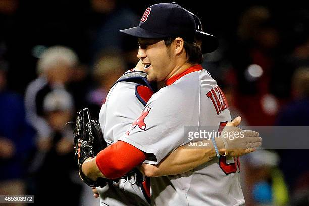 Junichi Tazawa of the Boston Red Sox and Blake Swihart celebrate their win over the Chicago White Sox at US Cellular Field on August 26 2015 in...
