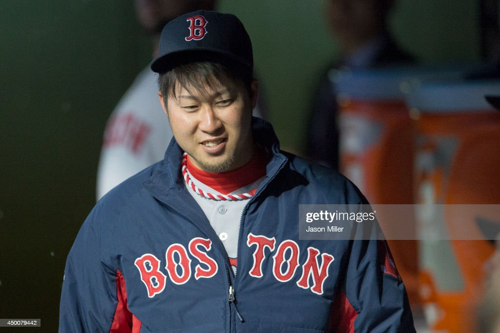 <a gi-track='captionPersonalityLinkClicked' href=/galleries/search?phrase=Junichi+Tazawa&family=editorial&specificpeople=4624306 ng-click='$event.stopPropagation()'>Junichi Tazawa</a> #36 of the Boston Red Sox in the dugout prior to the game against the Cleveland Indians at Progressive Field on June 4, 2014 in Cleveland, Ohio.