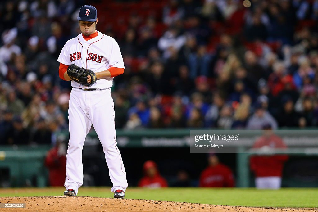 Junichi Tazawa #36 of the Boston Red Sox pitches against the Baltimore Orioles during the seventh inning at Fenway Park on April 13, 2016 in Boston, Massachusetts.