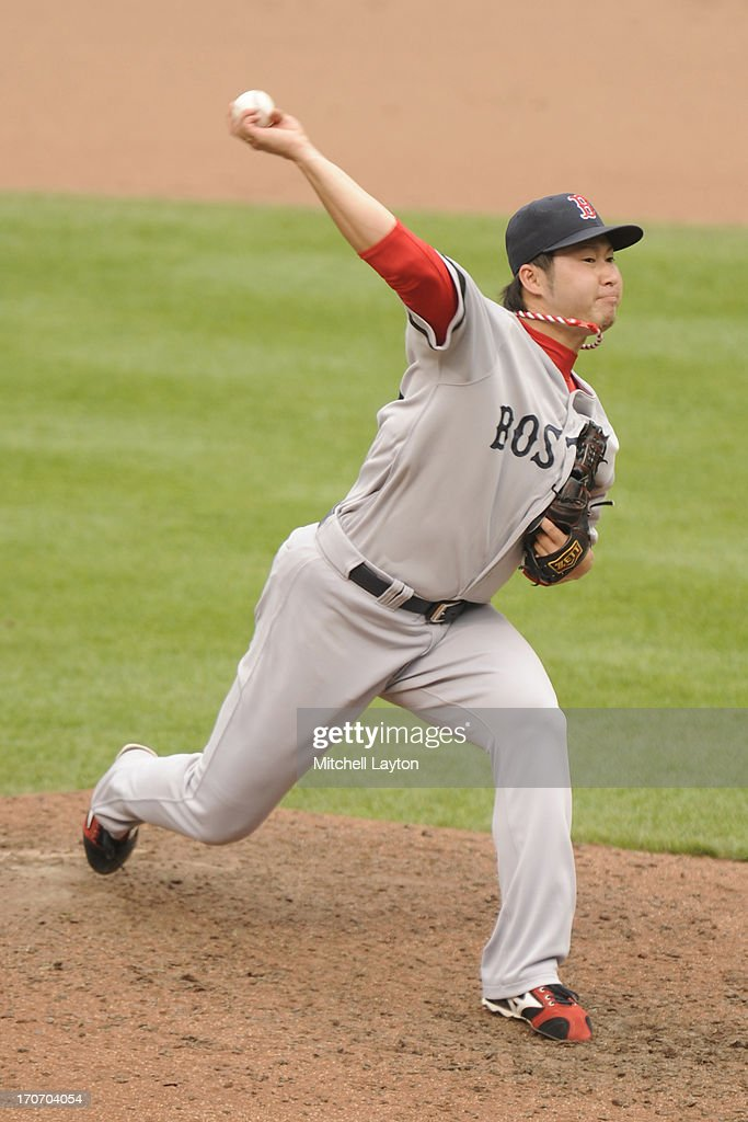 <a gi-track='captionPersonalityLinkClicked' href=/galleries/search?phrase=Junichi+Tazawa&family=editorial&specificpeople=4624306 ng-click='$event.stopPropagation()'>Junichi Tazawa</a> #36 of the Boston Red Sox pitches during a baseball game against the Baltimore Orioles on June 16, 2013 at Oriole Park at Camden Yards in Baltimore, Maryland. The Orioles won 6-3.