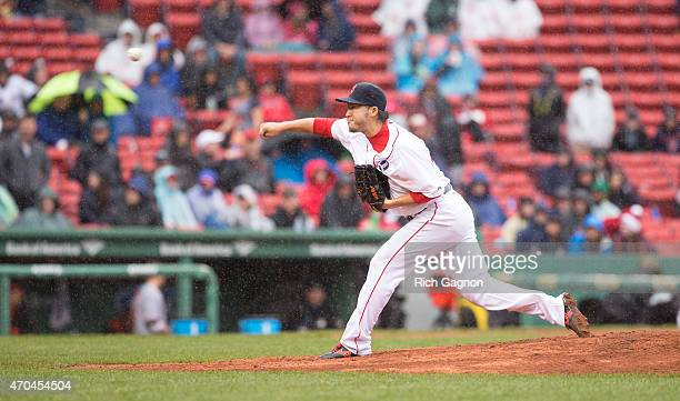 Junichi Tazawa of the Boston Red Sox pitches during the sixth inning against the Baltimore Orioles at Fenway Park on April 20 2015 in Boston...
