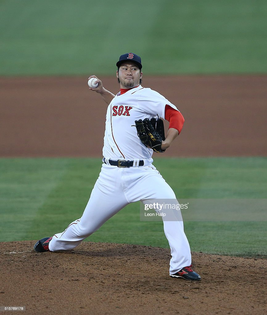 Junichi Tazawa #36 of the Boston Red Sox pitches during the sixth inning of the Spring Training Game against the New York Yankees on March 15, 2016 at Jet Blue Park at Fenway South, Florida.