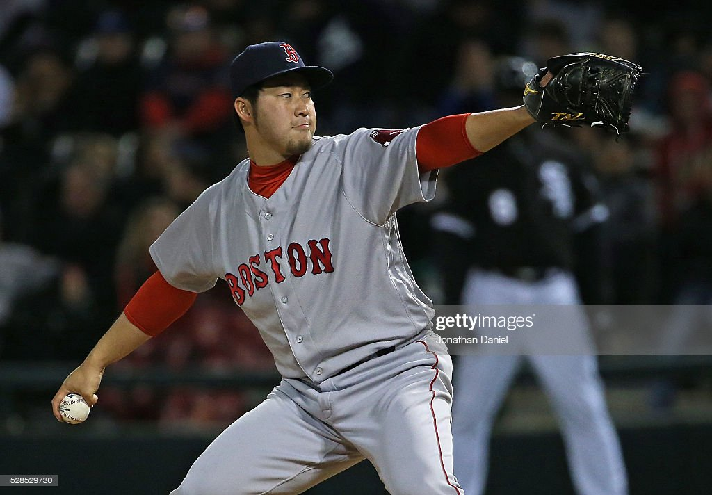 Junichi Tazawa #36 of the Boston Red Sox pitches in the 7th inning against the Chicago White Sox at U.S. Cellular Field on May 5, 2016 in Chicago, Illinois.