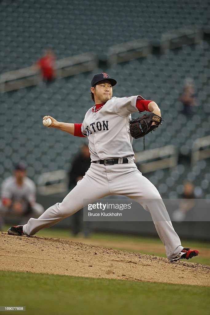 <a gi-track='captionPersonalityLinkClicked' href=/galleries/search?phrase=Junichi+Tazawa&family=editorial&specificpeople=4624306 ng-click='$event.stopPropagation()'>Junichi Tazawa</a> #36 of the Boston Red Sox pitches to the Minnesota Twins in the ninth inning on May 19, 2012 at Target Field in Minneapolis, Minnesota. The Red Sox win 5-1.