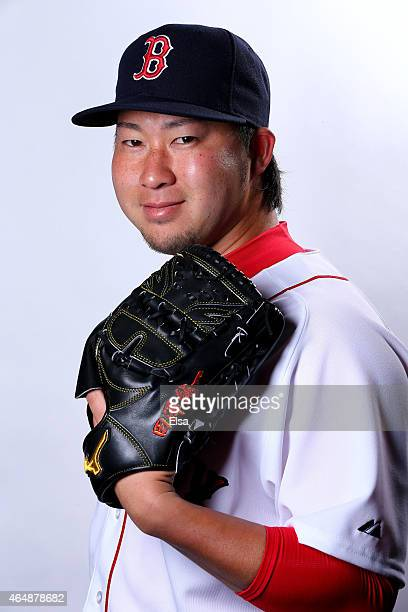 Junichi Tazawa of the Boston Red Sox poses for a portrait on March 1 2015 at JetBlue Park in Fort Myers Florida