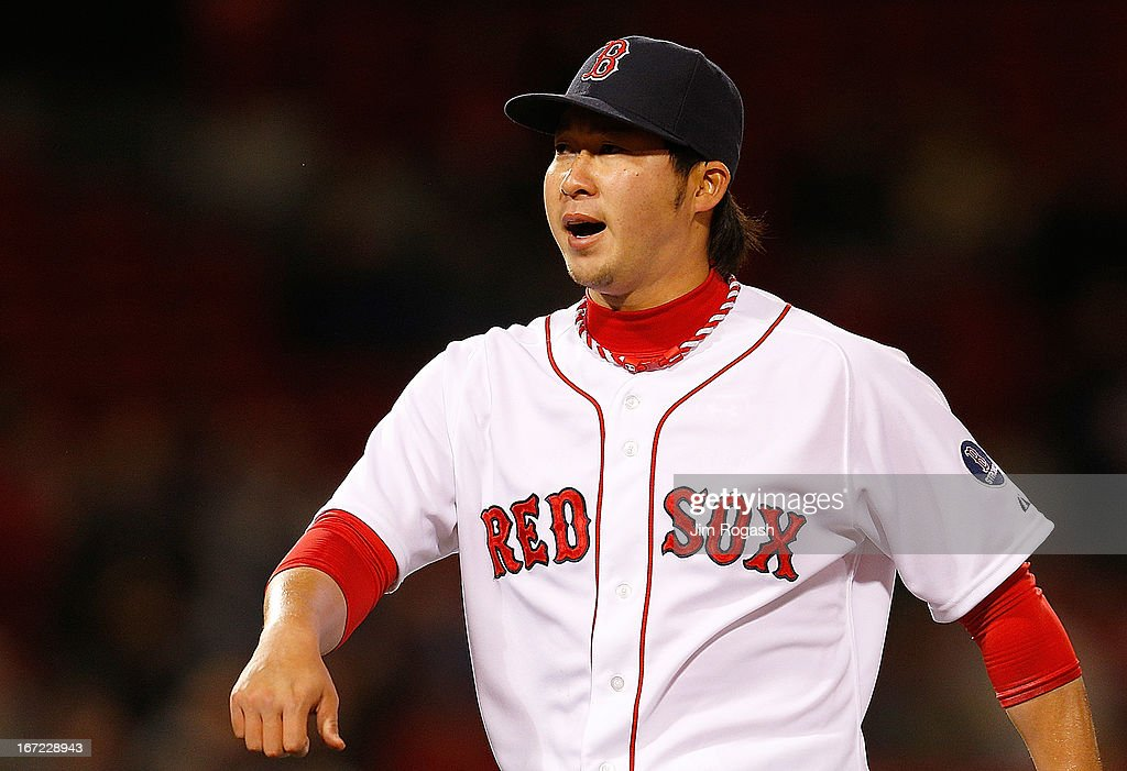 <a gi-track='captionPersonalityLinkClicked' href=/galleries/search?phrase=Junichi+Tazawa&family=editorial&specificpeople=4624306 ng-click='$event.stopPropagation()'>Junichi Tazawa</a> #36 of the Boston Red Sox reacts after finishing without given up a run in the 8th inning in relief against the Oakland Athletics at Fenway Park on April 22, 2013 in Boston, Massachusetts.