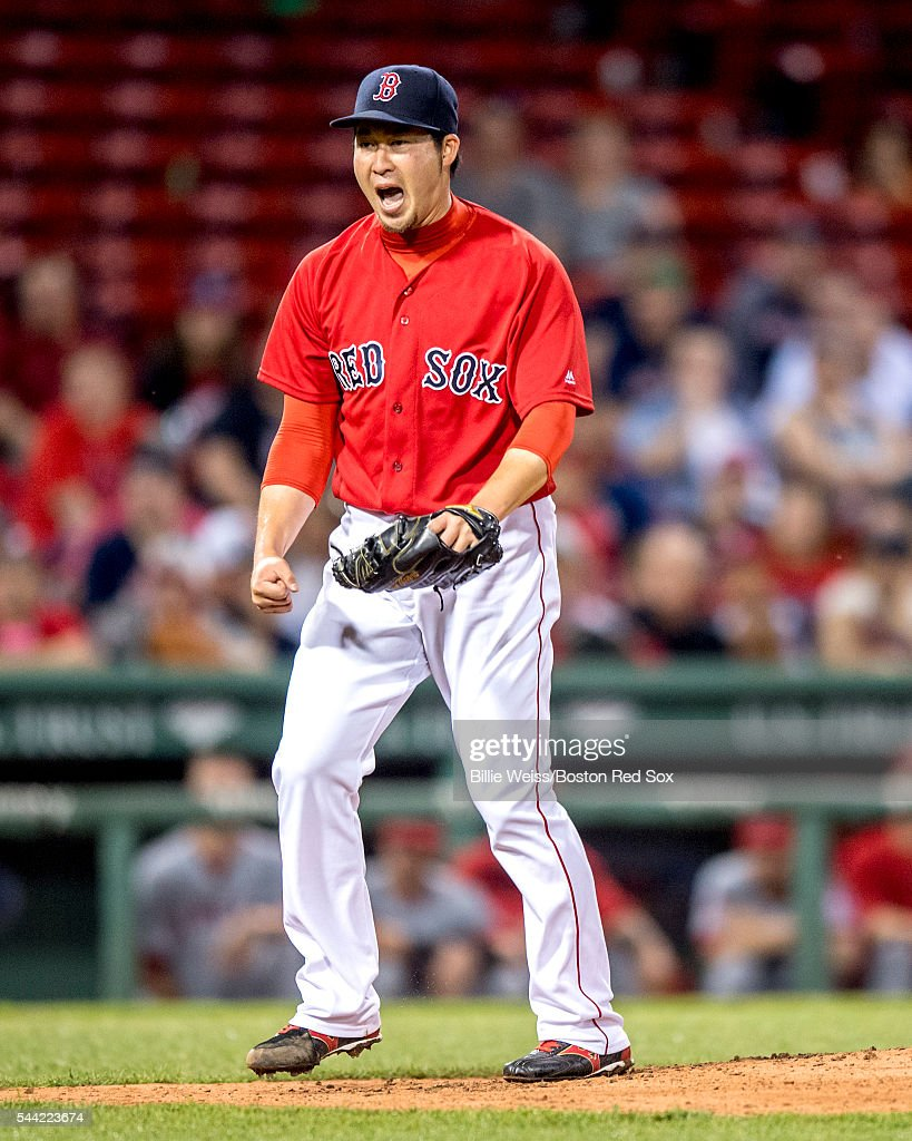 Junichi Tazawa #36 of the Boston Red Sox reacts during the seventh inning of a game against the Los Angeles Angels of Anaheim on July1, 2016 at Fenway Park in Boston, Massachusetts.