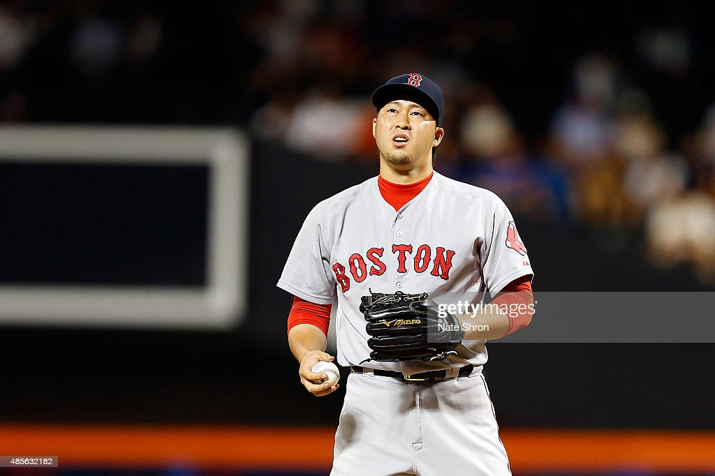 <a gi-track='captionPersonalityLinkClicked' href=/galleries/search?phrase=Junichi+Tazawa&family=editorial&specificpeople=4624306 ng-click='$event.stopPropagation()'>Junichi Tazawa</a> #36 of the Boston Red Sox reacts while pitching in the tenth inning against the New York Mets on August 28, 2015 at Citi Field in the Flushing Neighborhood of the Queens borough of New York City.