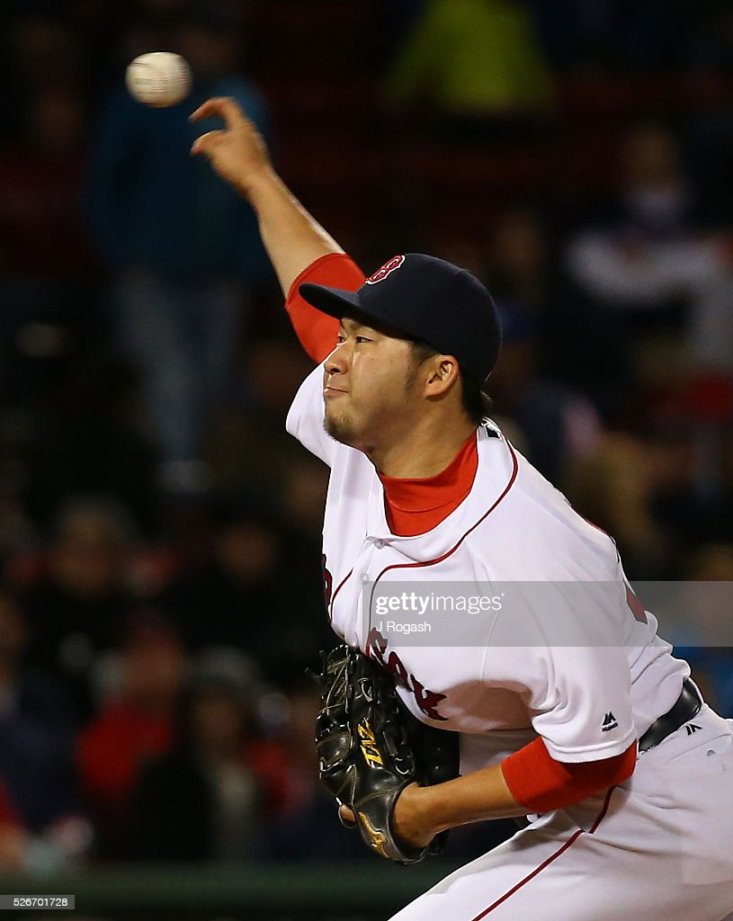 Junichi Tazawa #36 of the Boston Red Sox throws in relief during the ninth inning against the New York Yankees at Fenway Park on April 30, 2016 in Boston, Massachusetts.