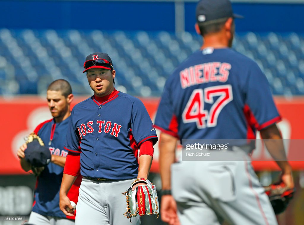 Junichi Tazawa #36 of the Boston Red Sox warms up before the start of a game against the New York Yankees at Yankee Stadium on June 28, 2014 in the Bronx borough of New York City.