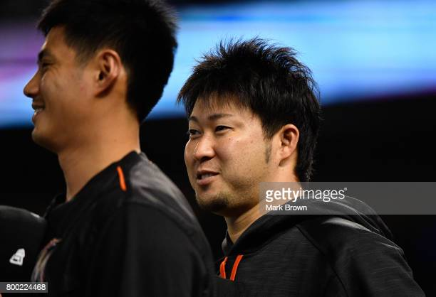 Junichi Tazawa of the Miami Marlins before the game between the Miami Marlins and the Chicago Cubs at Marlins Park on June 23 2017 in Miami Florida