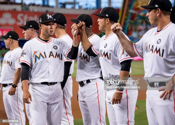 Junichi Tazawa of the Miami Marlins before the Opening Day game against the Atlanta Braves at Marlins Park on April 11 2017 in Miami Florida