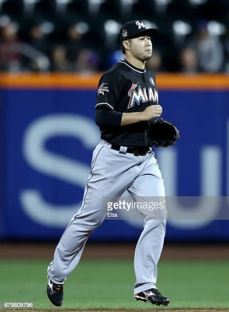 Junichi Tazawa of the Miami Marlins enters the game in the seventh inning against the New York Mets on May 6 2017 at Citi Field in the Flushing...
