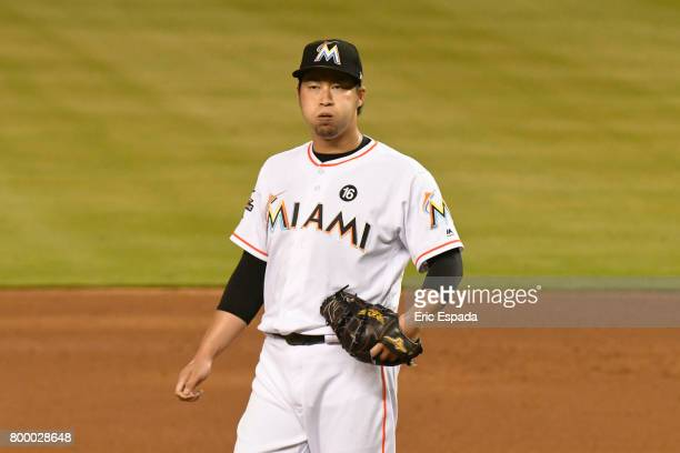 Junichi Tazawa of the Miami Marlins exhales after throwing a pitch during the sixth inning against the Chicago Cubs at Marlins Park on June 22 2017...