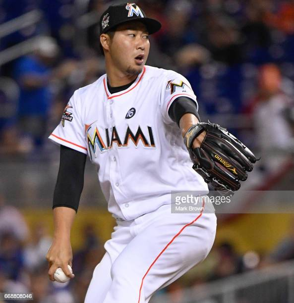 Junichi Tazawa of the Miami Marlins in action during the game against the New York Mets at Marlins Park on April 13 2017 in Miami Florida