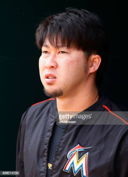 Junichi Tazawa of the Miami Marlins looks on against the New York Mets at Citi Field on August 20 2017 in the Flushing neighborhood of the Queens...