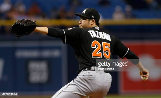 Junichi Tazawa of the Miami Marlins pitches during the eighth inning of a game against the Tampa Bay Rays on May 4 2017 at Tropicana Field in St...