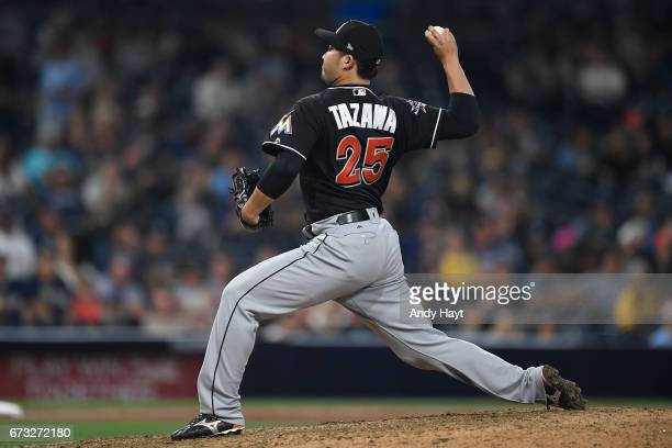 Junichi Tazawa of the Miami Marlins pitches during the eleventh inning of a baseball game against the San Diego Padres at PETCO Park on April 22 2017...