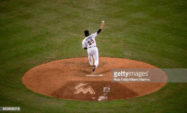Junichi Tazawa of the Miami Marlins pitches during the game against the New York Mets at Marlins Park on September 19 2017 in Miami Florida