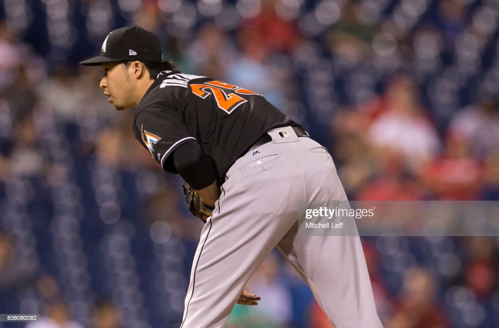 Junichi Tazawa #25 of the Miami Marlins pitches in the bottom of the seventh inning against the Philadelphia Phillies at Citizens Bank Park on August 23, 2017 in Philadelphia, Pennsylvania. The Phillies defeated the Marlins 8-0.