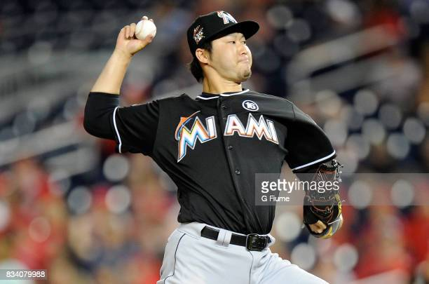 Junichi Tazawa of the Miami Marlins pitches in the eighth inning against the Washington Nationals at Nationals Park on August 10 2017 in Washington DC