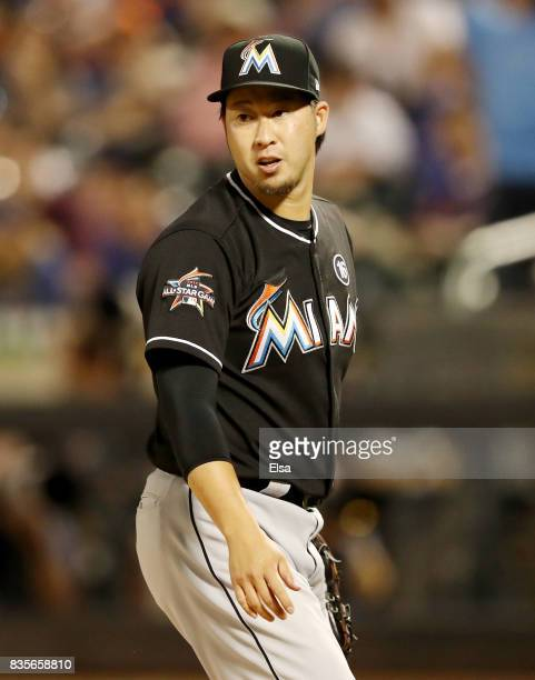 Junichi Tazawa of the Miami Marlins reacts in the sixth inning against the New York Mets on August 19 2017 at Citi Field in the Flushing neighborhood...