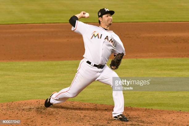 Junichi Tazawa of the Miami Marlins throws a pitch during the sixth inning against the Chicago Cubs at Marlins Park on June 22 2017 in Miami Florida