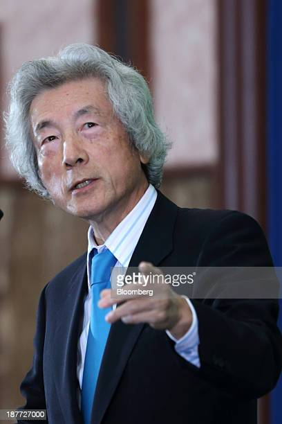 Junichiro Koizumi former Japan prime minister speaks during a news conference at the Japan National Press Club in Tokyo Japan on Tuesday Nov 12 2013...