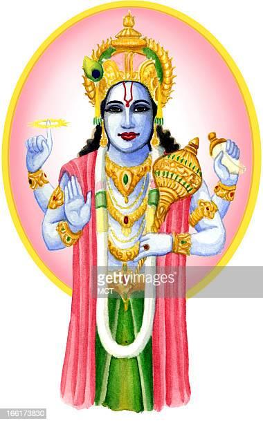 Junie BroJorgensen color illustration of Hindu god Krishna
