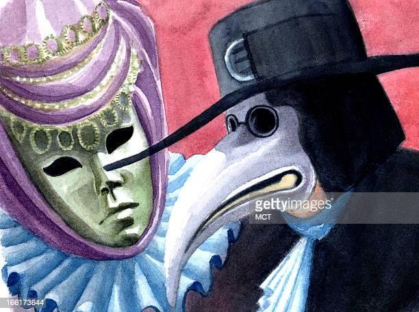 Junie BroJorgensen color illustration of venezian carnival masks