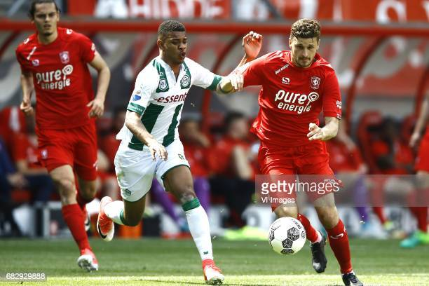 Juninho Bacuna of FC Groningen Mateusz Klich of FC Twenteduring the Dutch Eredivisie match between FC Twente and FC Groningen at the Grolsch Veste on...