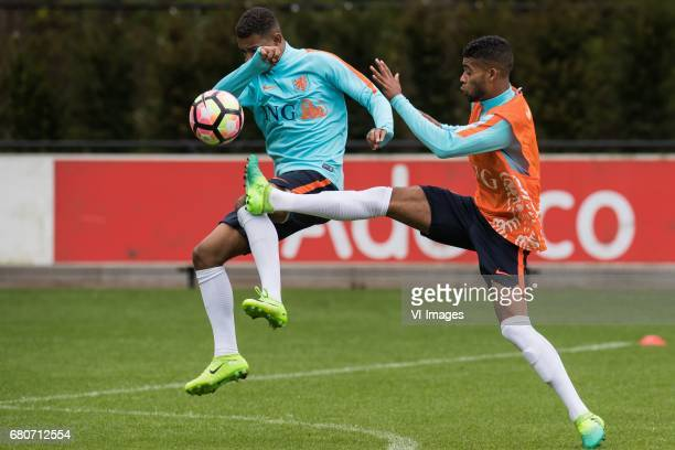 Juninho Bacuna of Netherland U23 Jeremiah St Juste of Netherland U23during a training session of Netherlands U21 at KNVB Campus on May 09 2017 in...