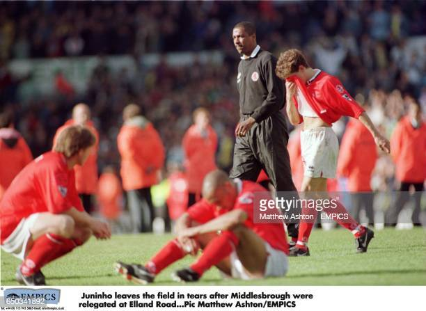Juninho leaves the field in tears after Middlesbrough were relegated at Elland Road