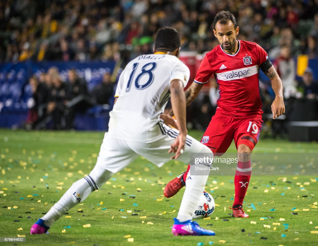 Juninho #19 of Chicago Fire during Los Angeles Galaxy's MLS match against Chicago Fire at the StubHub Center on May 6, 2017 in Carson, California. The match ended in a 2-2 tie.